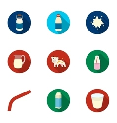 Milk set icons in flat style Big collection of vector image