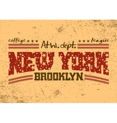 New York city Typography Graphic Brooklyn athletic vector image vector image