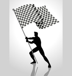 Racing flag bearer vector