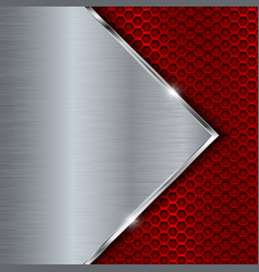 Red metal perforated background with perforation vector