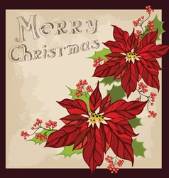 Retro Christmas greeting card with flower vector image vector image