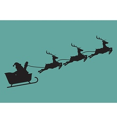 Santa claus with reindeer sleigh in silhouette vector