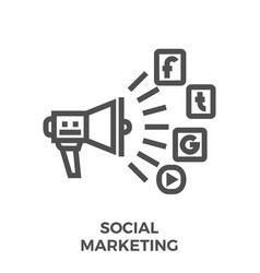 social marketing line icon vector image vector image