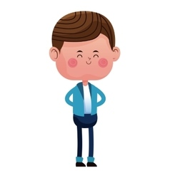 Standing boy with blue pants jacket closed eyes vector