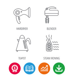 Steam ironing kettle and blender icons vector