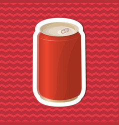 Sticker of soda in a tin can on red striped vector