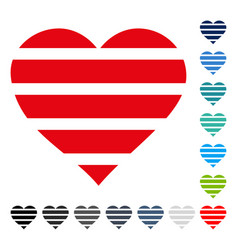 striped love heart icon vector image vector image