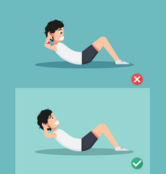 wrong and right sit-up posture vector image