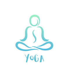 yoga class logo on white man in lotus position vector image