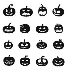Halloween pumpkins icons vector
