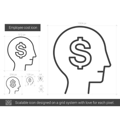 Employee cost line icon vector