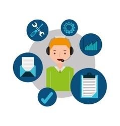Blond man support operator assistance vector