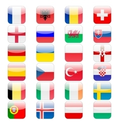 Set of 24 soccer balls icons flags of the vector image