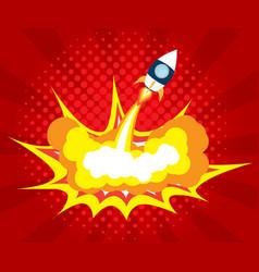 Abstract rocket launch boom comic book pop art vector