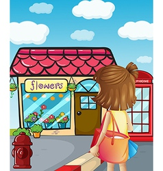 A young girl going to the flowershop vector image