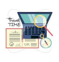 Laptop with passport and magnifying glass and vector
