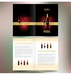 Brochure folder wine red vine grape ornament vector