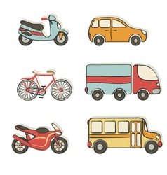 Transportation hand drawing icons vector