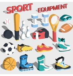 3d perspective flat sport equipment vector