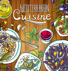 Beautiful hand-draw mediterranean cuisine- food on vector