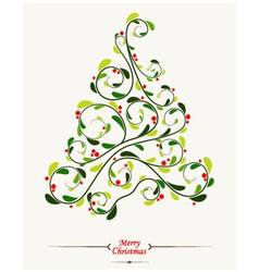 Christmas tree with floral background vector