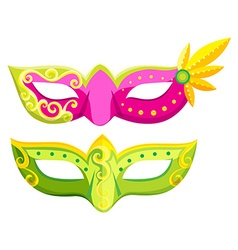 Party masks in pink and green colors vector