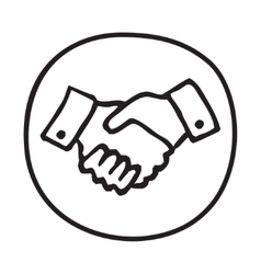 Doodle shaking hands icon vector