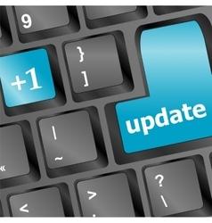 Upgrade computer key on blue keyboard vector