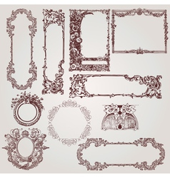 Antique victorian baroque frames vector