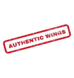 Authentic wings text rubber stamp vector