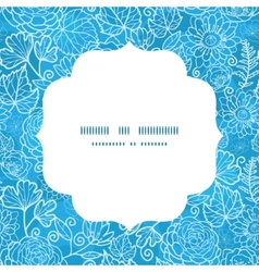 Blue field floral texture circle frame seamless vector