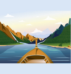 boat on the lake in a mountainous region with vector image vector image