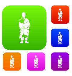 buddhist monk set collection vector image vector image