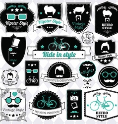 Collection of vintage hipster badges labels and vector image