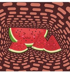 Cute watermelon fruit slice mascot in dark backgro vector