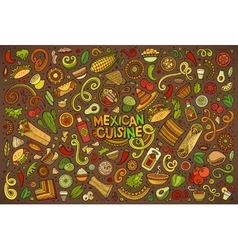 Doodle cartoon set of Mexican Food objects vector image vector image