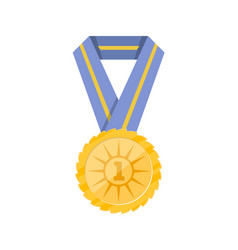 first place golden medal with blue ribbon vector image