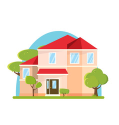 flat design big house with trees building vector image vector image