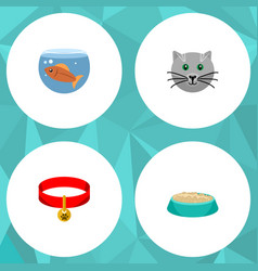 Flat icon pets set of fishbowl kitty kitty vector