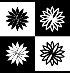Flower sign black and white icons and vector