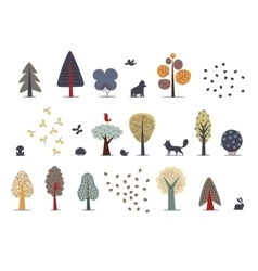 Forest trees set vector