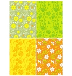 Four floral seamless vector image