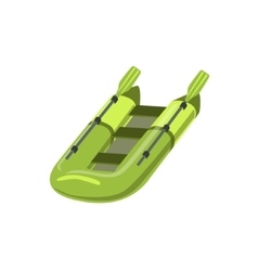 Green inflatable raft type of boat icon vector