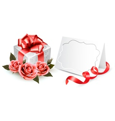 Greeting card with a ribbon a present and three vector image vector image