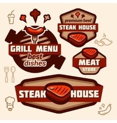 grill logos vector image vector image