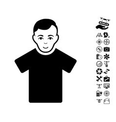 Guy icon with flying drone tools bonus vector
