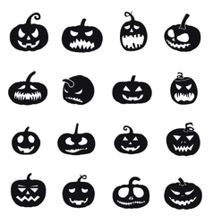 Halloween pumpkins icons vector