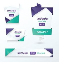 Label Ribbon Origami 2 color vector image