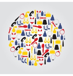 Lady stuff needs color icons set in circle eps10 vector