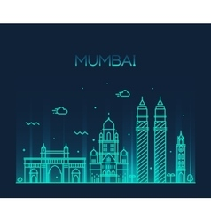 Mumbai city skyline line art vector